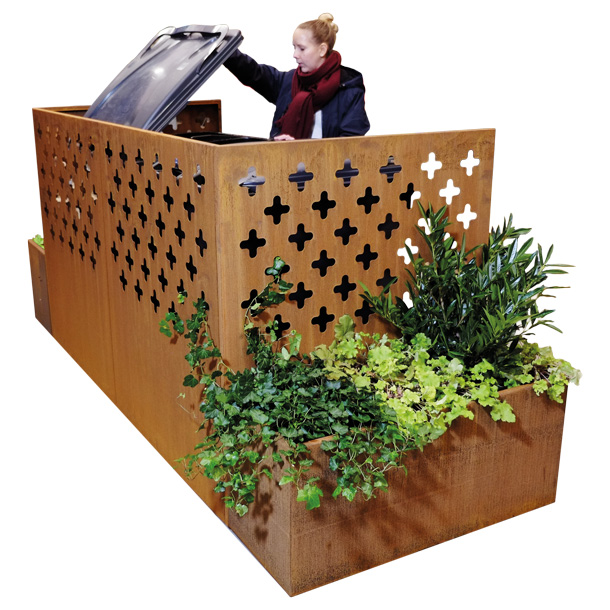 Green City Sopgarage fyrfackssortering corten